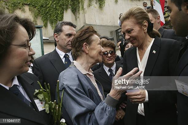 Farah Pahlavi at the Passy cemetery on third anniversary of the death of her daughter Princess Leila in Paris France on June 12 2004