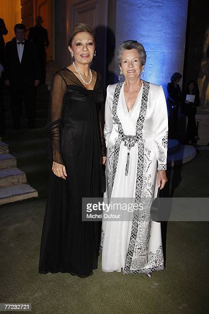 Farah Pahlavi Empress of Iran and former first lady AnneAymone Giscard d'Estaing attend the Fondation Pour L'Enfance Ball at the Palais de Versailles...