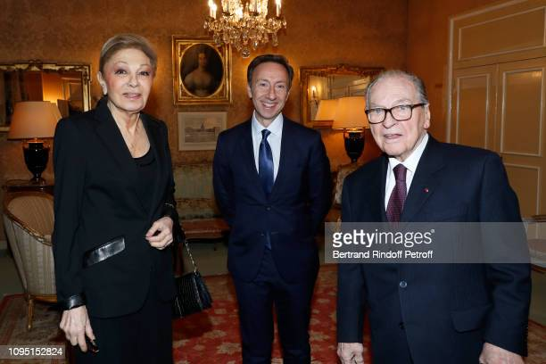 Farah Pahlavi Founder Stephane Bern and French Academician Prince Gabriel de Broglie attend the 2018 Prize of the Stephane Bern Institut de France...