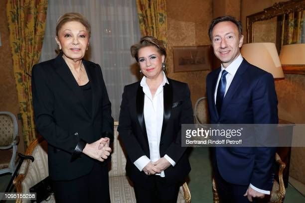 Farah Pahlavi Grand Duchess Maria Theresa of Luxembourg and founder Stephane Bern attend the 2018 Prize of the Stephane Bern Institut de France...