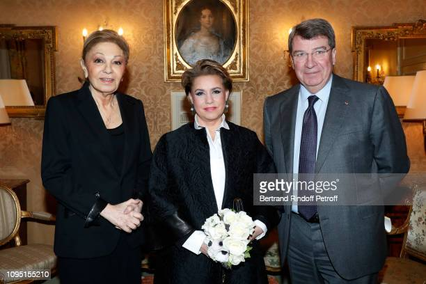 Farah Pahlavi Grand Duchess Maria Theresa of Luxembourg and Chancellor of the Institut de France Xavier Darcos attend the 2018 Prize of the Stephane...