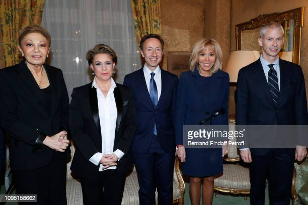 Farah Pahlavi Grand Duchess Maria Theresa of Luxembourg Founder Stephane Bern Brigitte Macron and French Minister of Culture Franck Riester attend...