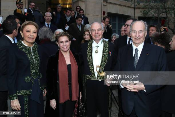 Farah Pahlavi Grand Duchess Maria Theresa of Luxembourg Frederic Mitterrand and Prince Karim Aga Khan attend the Installation of Frederic Mitterrand...