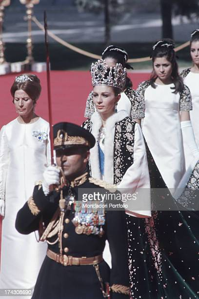 Farah Pahlavi the third wife of the Shah of Persia Mohammad Reza Pahlavi parades during the coronation ceremony Teheran Iran October 1967