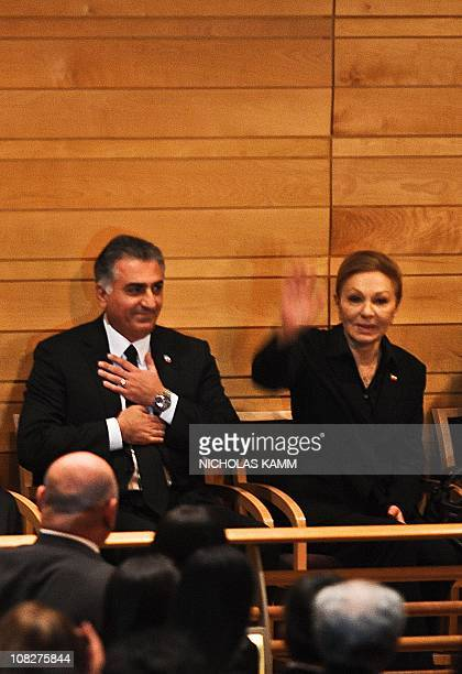 Farah Pahlavi widow of the last shah of Iran Mohammad Reza Pahlavi and her eldest son Prince Reza attend a memorial service for her youngest son...