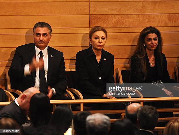 Farah Pahlavi widow of the last shah of Iran Mohammad Reza Pahlavi her eldest son Prince Reza and her daughter Princess Farahnaz attend a memorial...