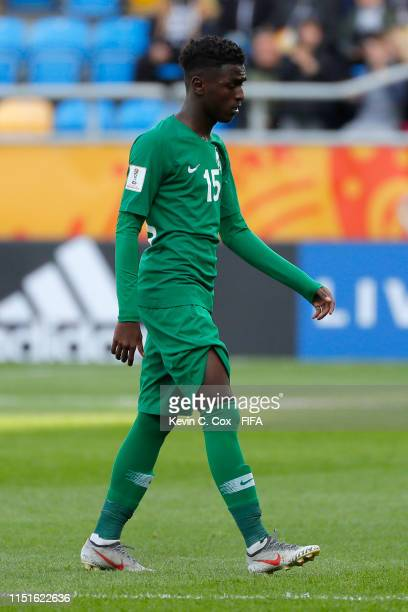 Faraj Alghashayan of Saudi Arabia leaves the pitch after receiving a red card following a VAR consultation during the 2019 FIFA U-20 World Cup group...