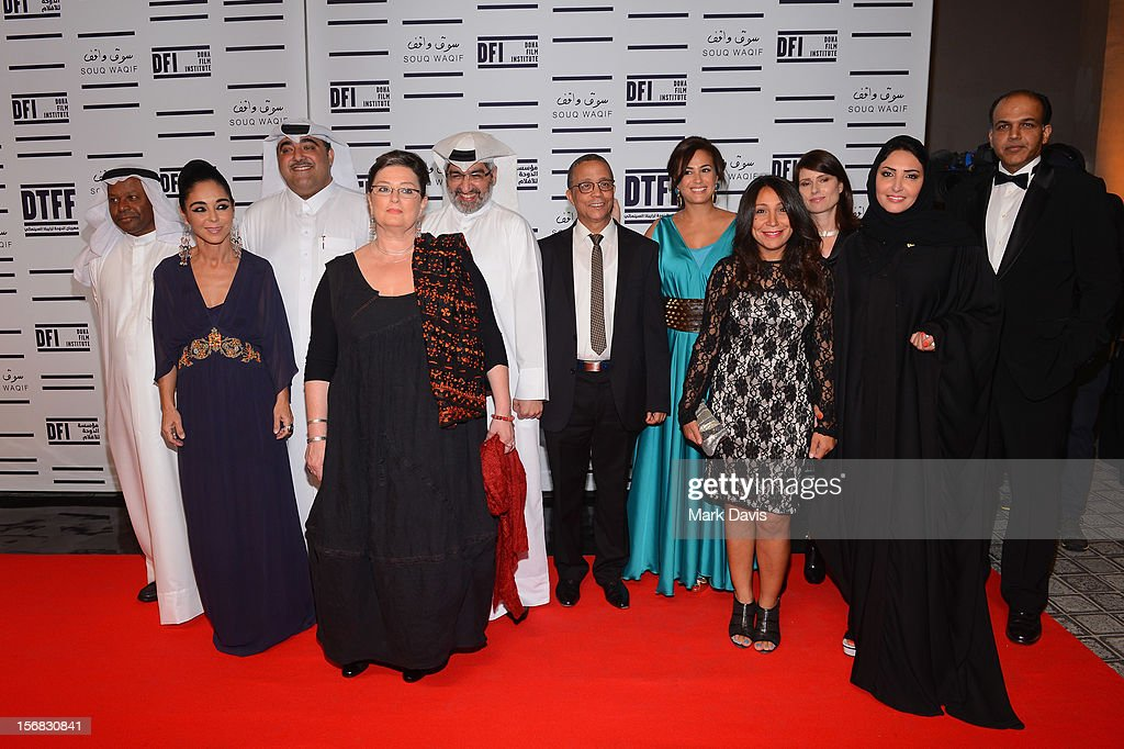 Faraj Daham, Shirin Neshat, Hafiz Ali Ali, Dr. Emad Amralla Sultan, Yasmina Khadra, Hend Sabry, Yesim Ustaoglu, Haifaa Al Mansour, Yesim Ustaoglu, Wedad Al Kawari and Ashutosh Gowariker attend the Awards Ceremony at the Al Rayyan Theatre during the 2012 Doha Tribeca Film Festival on November 22, 2012 in Doha, Qatar.