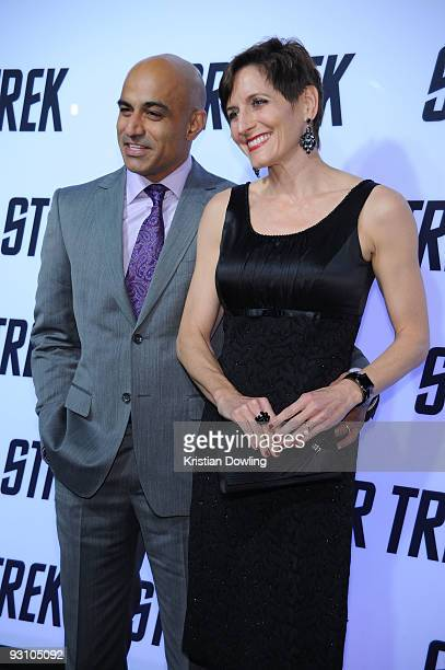 Faran Tahir and wife Marie arrive for Paramount Home Entertainment's Star Trek DVD Release Party at the Griffith Observatory on November 16 2009 in...