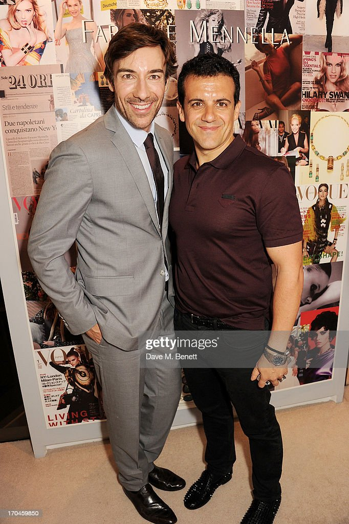 Faraone Mennella designers Roberto Faraone Mennella (L) and Amedeo Scognamiglio attend the 12th birthday of New York jewellery house Faraone Mennella, with guest of honour Patricia Field, at their Knightsbridge store on June 13, 2013 in London, England.