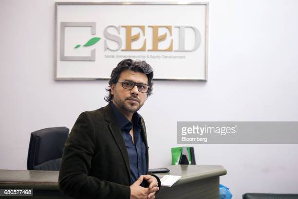 Faraz Khan cofounder and chief executive officer of Seed Ventures poses for a photograph at his office in Karachi Pakistan on Monday April 24 2017...