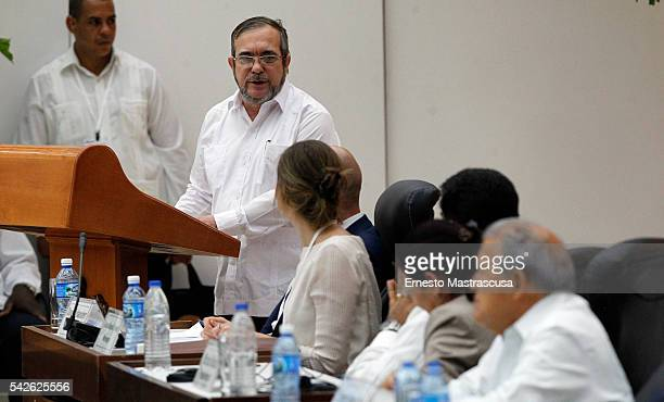 Farc's leader Timoleon Jimenez 'Timonchenko' talks during a ceremony to sign a historic ceasefire agreement between Colombian Government and the FARC...