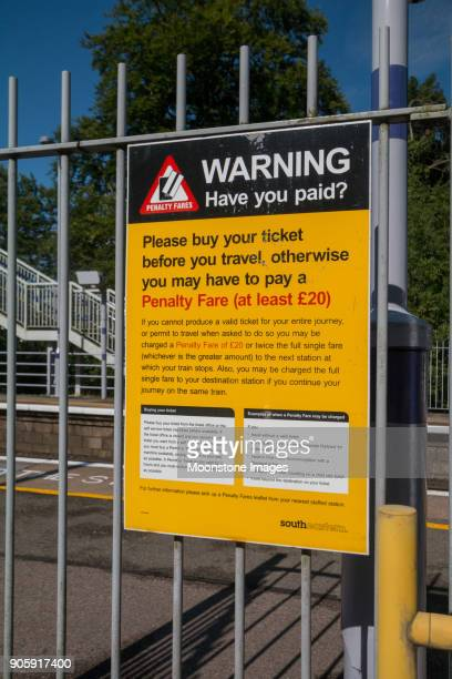 fare dodging warning at eynsford station in kent, england - ducking stock pictures, royalty-free photos & images