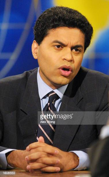 """Fareed Zakaria of Newsweek Magazine speaks during a roundtable discussions on NBC''s """"Meet the Press"""" August 12, 2001 during a taping at the NBC..."""