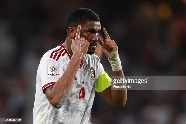 Fares Juma Al Saadi of United Arab Emirates celebrates after his teammate Ali Ahmed Mabkhout of United Arab Emirates scores his sides first goal...