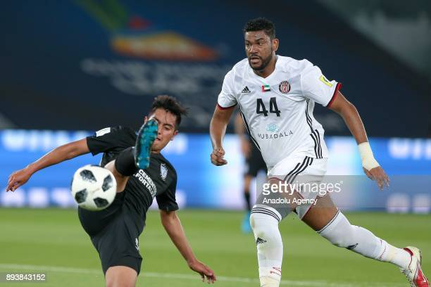 Fares Juma of Al Jazira in action against Erick Sanchez of Pachuca during the 2017 FIFA Club World Cup consolation match between Al Jazira and...