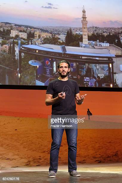 Fares Nimri speaks onstage during Welcome Home How Hospitality Can Provide Shelter Revive Communities and Make the World a Better Place at The Los...