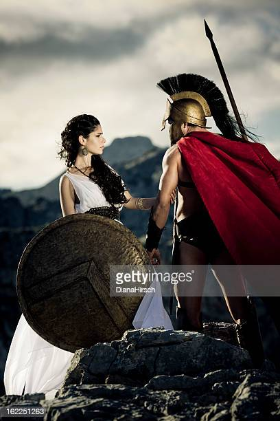 farewell between spartan couple - sparta stock photos and pictures