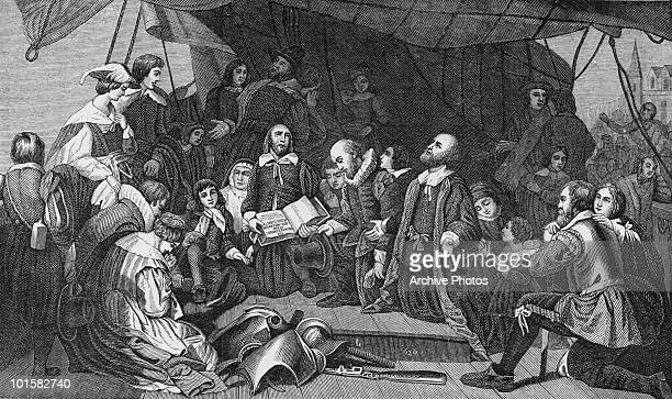 A farewell meeting is held by a group of English Puritans before leaving for America circa 1620