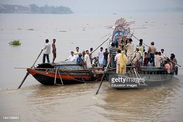 Farewell Of The Durga Idol In Hooghly River Visarjan Durga Pooja Dussera Vijayadasami Navaratri Festival Shakti Thakur Bag Bazar Calcutta Kolkata...