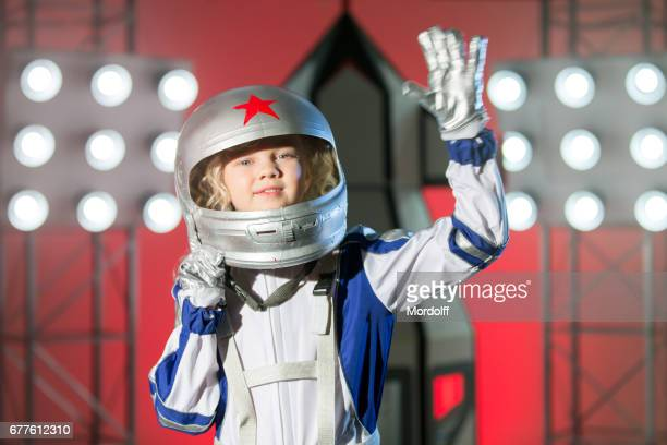 Farewell To Earth. Portrait Of Nice Blonde Girl Astronaut