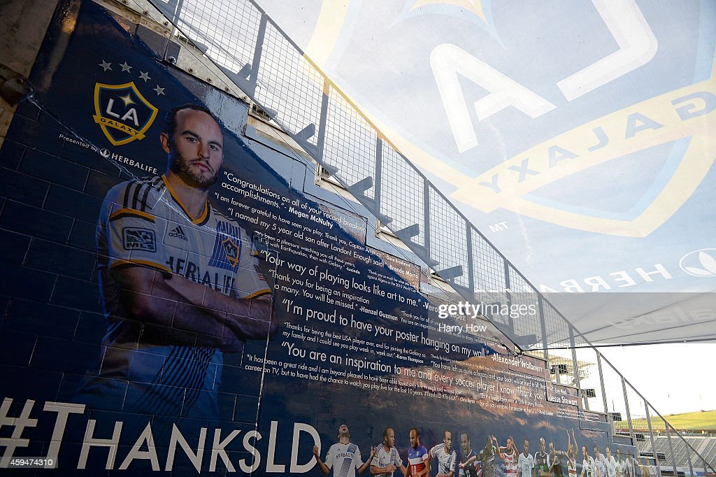 A farewell tribute on display to Landon Donovan #10 of Los Angeles Galaxy after a 2-1 Galaxy win over the Seattle Sounders FC during the Western Conference Final at StubHub Center on November 23, 2014 in Los Angeles, California.