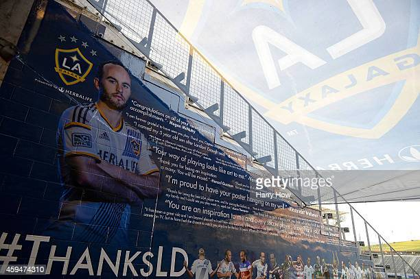 A farewell tribute on display to Landon Donovan of Los Angeles Galaxy after a 21 Galaxy win over the Seattle Sounders FC during the Western...