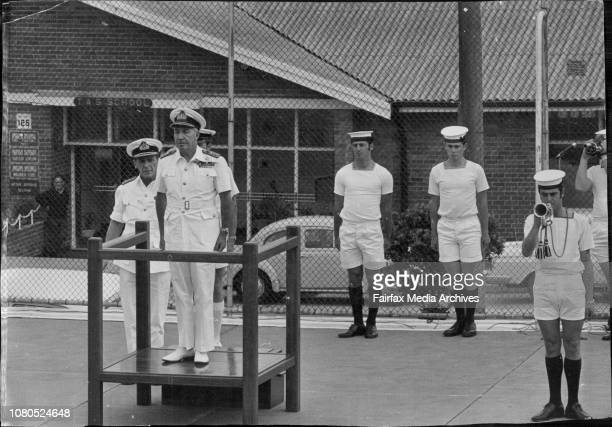 Farewell visit by naval Chief of Staff Vice Admiral Sir Victor Smith at the HMAS Watson at South HeadA parade was held by over 500 men and woman to...