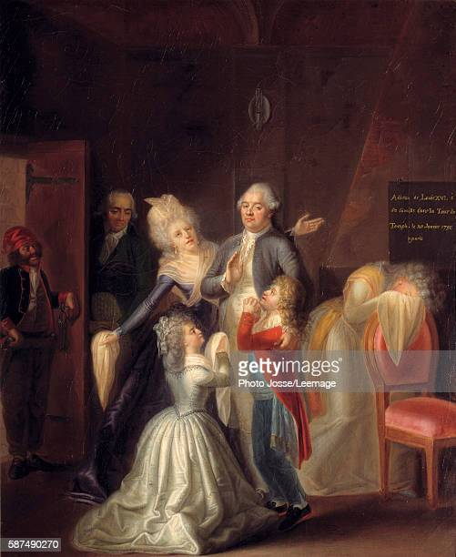Farewells of Louis XVI to his family on 20 January 1793 at the Temple Painting by Jean Jacques Hauer 1794 Oil on canvas 053 x 046 m Carnavalet Museum...
