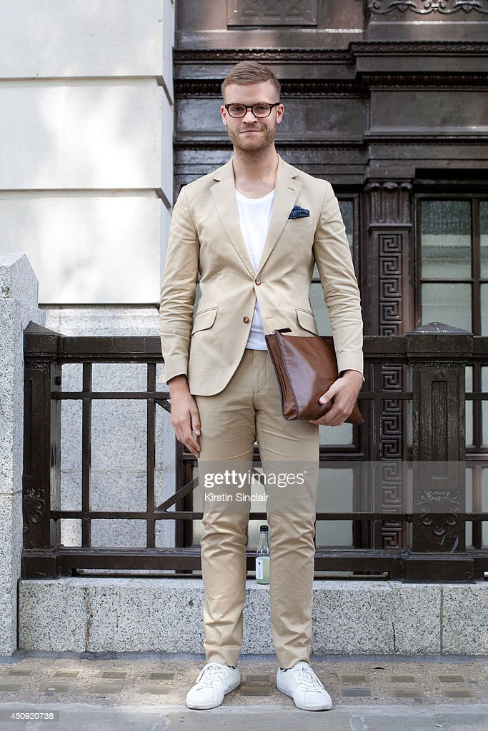 FarFetch Personal Shopper Phil Green wears Car shoes and everything else Hackett on day 3 of London Collections: Men on June 17, 2014 in London, England.