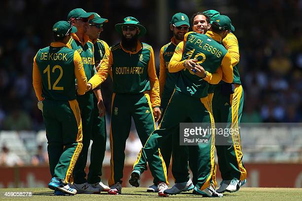 Farhaan Behardien and Faf du Plessis of South Africa celebrate the dismissal of Shane Watson of Australia during the One Day International match...