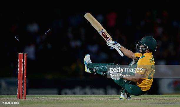 Farhaan Behardien of South Africa Invitation XI is bowled by David Willey of England during the T20 Tour Match between South Africa Invitation XI and...
