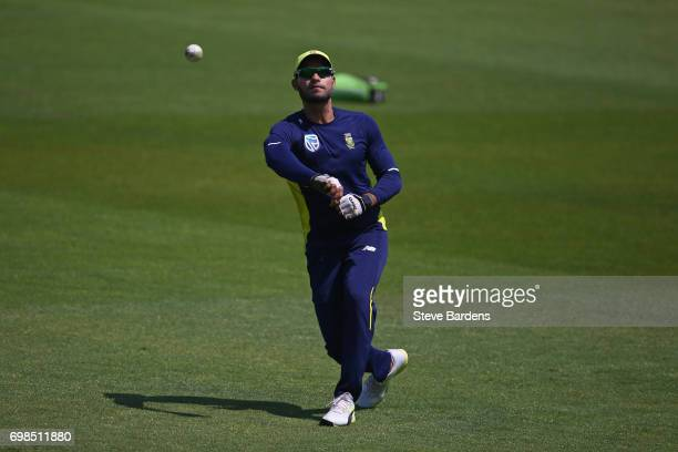 Farhaan Behardien of South Africa takes part in a South Africa nets session ahead of the Twenty20 International between England and South Africa at...