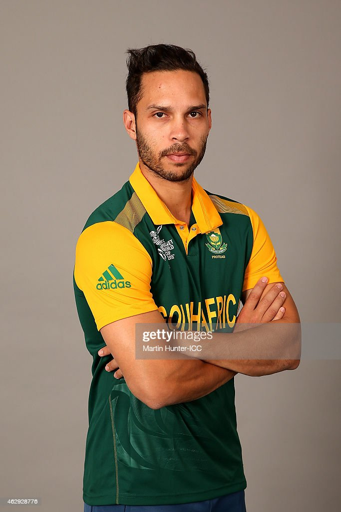 Farhaan Behardien poses during the South Africa 2015 ICC Cricket World Cup Headshots Session at the Rydges Latimer on February 7, 2015 in Christchurch, New Zealand.
