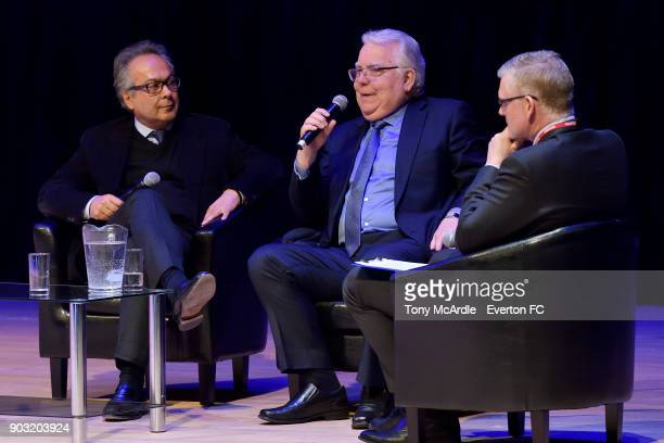 Farhad Moshiri and Bill Kenwright of Everton speak during the Everton General Meeting at Royal Liverpool Philharmonic Hall on January 9 2018 in...