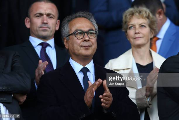 Farhad Moshiri owner of Everton looks on prior to the Premier League match between Everton and Stoke City at Goodison Park on August 12 2017 in...