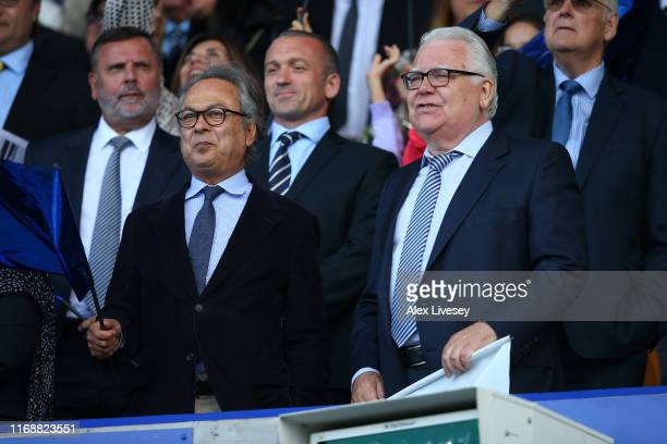Farhad Moshiri the owner of Everton FC and Bill Kenwright the chairman of Everton look on prior to the Premier League match between Everton FC and...