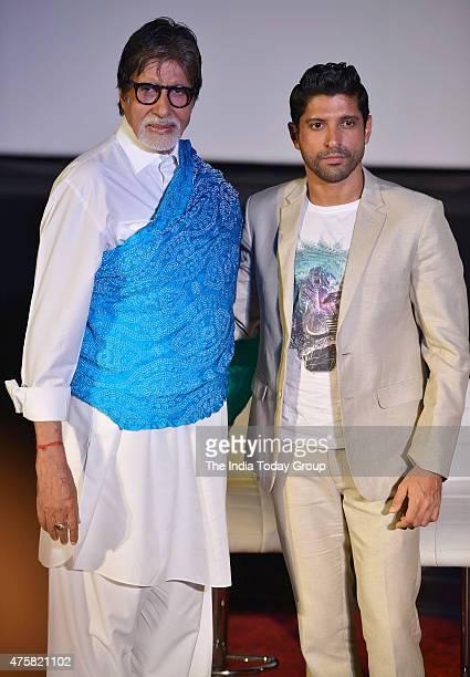 Farhan Akhtar and Amitabh Bachchan at the teaser launch of the movie Wazir in Mumbai