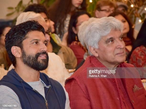 Farhan Akhtar and Javed Akhtar at Kaifi Ki Yaad Main an evening of live music and poetry at 25 Janki Kutir celebrating the birth centenary of the...