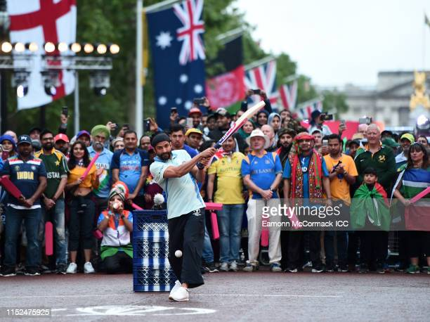 Farhan Akhtar of India bats during the ICC Cricket World Cup 2019 Opening Party at The Mall on May 29 2019 in London England