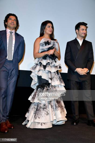 Farhan Akhtar Priyanka Chopra Jonas and Rohit Saraf attend The Sky Is Pink premiere during the 2019 Toronto International Film Festival at Roy...