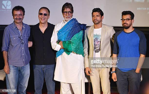 Farhan Akhtar Raj Kumar Hirani Vidhu Vinod Chopra and Amitabh Bachchan at the teaser launch of the movie Wazir in Mumbai