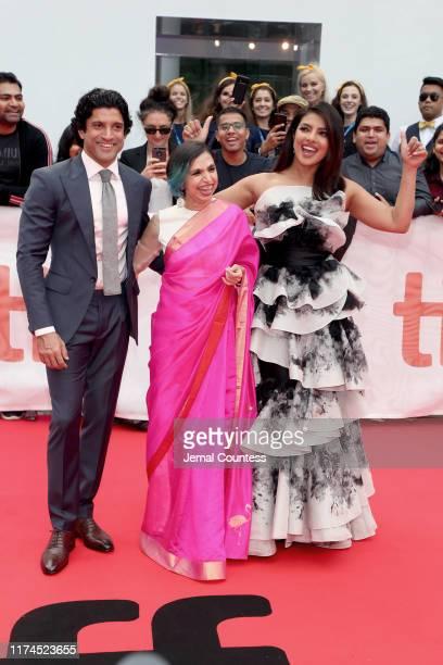 "Farhan Akhtar, Shonali Bose, and Priyanka Chopra Jonas attend ""The Sky Is Pink"" premiere during the 2019 Toronto International Film Festival at Roy..."