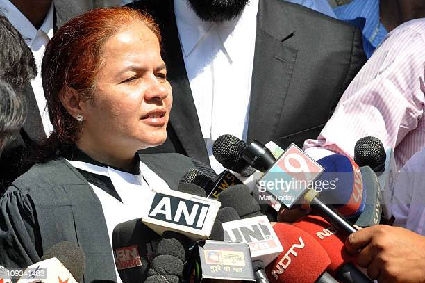 Farhana Shah one of the lawyers of Mohammed Ajmal Amir Kasab speaks with media outside the high court in Mumbai on February 21 2011 Two Indian judges...