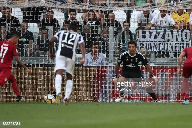 Farias shoots the ball on penalty kick during the Serie A football match n1 JUVENTUS CAGLIARI on at the Allianz Stadium in Turin Italy