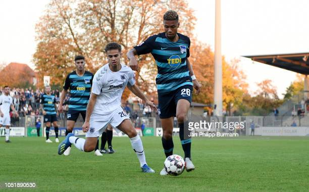 Farid Abderrahmane of SV Babelsberg 03 and Sidney Friede of Hertha BSC U23 during the friendly match between Hertha BSC and the SV Babelsberg 03 at...