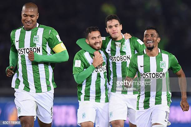 Farid Diaz of Atletico Nacional celebrates victory during the FIFA Club World Cup 3rd place match between Club America and Atletico Nacional at...