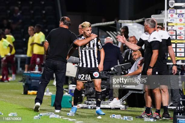 Farid El Melali of Angers and Stephane Moulin Headcoach of Angers during the Top 14 match between Angers and Metz on August 24 2019 in Angers France