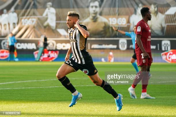 Farid El Melali of Angers celebrates after scoring a goal during the Top 14 match between Angers and Metz on August 24 2019 in Angers France