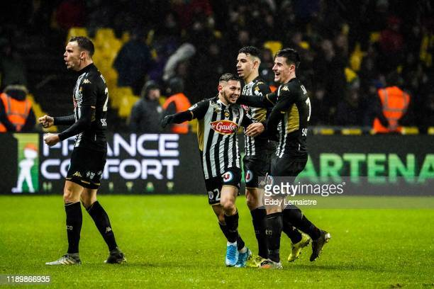 Farid EL MELALI of Angers celebrates with Baptiste SANTAMARIA of Angers after scoring a goal during the Ligue 1 match between Nantes and Angers at...
